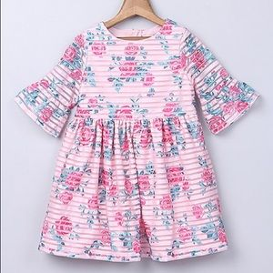 Pink Stripe Rose A-Line Dress